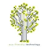 Art vector graphic illustration of modern digital tree, technology innovation abstract design. Renewable resources idea. stock illustration