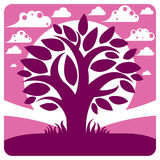 Art vector graphic illustration of stylized branchy tree Stock Photo