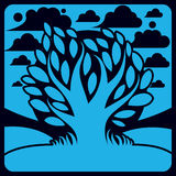 Art vector graphic illustration of stylized branchy tree Royalty Free Stock Image
