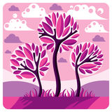 Art vector graphic illustration of stylized branchy tree Stock Photography
