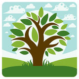 Art vector graphic illustration of stylized branchy tree Royalty Free Stock Images