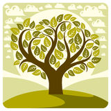 Art vector graphic illustration of stylized spring tree Stock Images