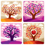 Art vector graphic illustration of stylized tree and peaceful pu Stock Photos