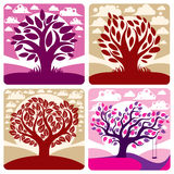 Art vector graphic illustration of stylized tree and peaceful Royalty Free Stock Photos