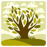 Art vector graphic illustration of stylized tree Royalty Free Stock Images