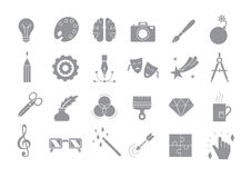 Art vector gray icons set. Set of 24 Art vector gray icons Stock Photo