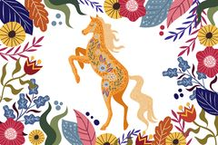 Art vector horizontal colorful illustration with beautiful abstract folk horse and flowers. Artwork for decoration your interior and for use in your unique stock illustration