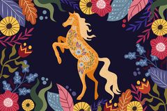 Art vector horizontal colorful illustration with beautiful abstract folk horse and flowers on a dark background. Artwork for decoration your interior and for royalty free illustration