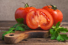 Art vegetable tomato board table wooden parsley fr royalty free stock images