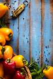 Art Vegetables on wood. Bio Healthy food, herbs and spices. Orga Stock Photo