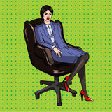 Art-Vektor Illustration des Pop-Arten-Büros komische Lizenzfreies Stockfoto