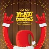 Art Vektorkarikatur Santa Claus-Rocks n Rollenmit goldenem kalligraphischem Grußtext auf hölzernem Hintergrund mit Weihnachten Lizenzfreie Stockfotografie
