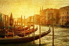 Art Venice Italien Gondoler på Grand Canal Royaltyfria Bilder