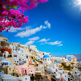 Art view of Fira town - Santorini. Traditional country stock images