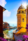 Art View of Romantic Seascape in Vernazza, Cinque Terre, Liguria Royalty Free Stock Photography