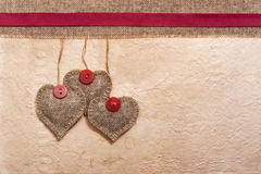 Art vintage background with fabric Hearts for design Royalty Free Stock Image