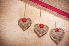 Art vintage background with fabric Hearts for design Royalty Free Stock Images