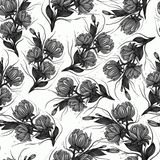 Art vintage monochrome black graphic floral seamless pattern with white roses and peonies isolated on white background royalty free illustration
