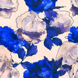 Art vintage monochrome watercolor floral seamless pattern with w Royalty Free Stock Images