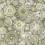 Art vintage stylized geometric flowers seamless pattern, monochr Royalty Free Stock Image