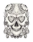 Art Vintage Surreal Skull Tattoo Illustration Stock