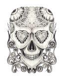 Art Vintage Surreal Skull Tattoo illustration stock