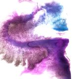 Art Violet, dark blue watercolor ink paint blob watercolour spla. Sh colorful stain isolated on white background royalty free stock photo
