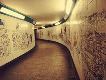 Art on the wall - the way to the London underground Stock Images