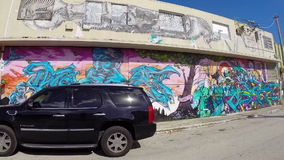 Art walls at Wynwood Miami stock footage
