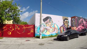 Art walls at Wynwood Miami stock video footage