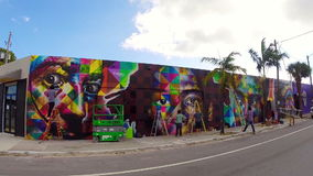 Art walls at Wynwood Miami stock video