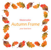 Art watercolor autumn leaves frame Royalty Free Stock Images