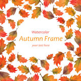 Art watercolor autumn leaves frame Royalty Free Stock Photos