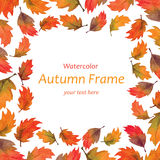 Art watercolor autumn leaves frame Royalty Free Stock Photography