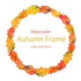 Art watercolor autumn leaves frame Stock Photos