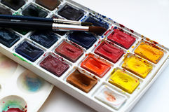 Art watercolor beginner set. Art watercolour beginner set with brushes, paint  and palette Stock Images