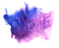 Art watercolor blue, purple ink paint blob. Watercolour splash colorful stain isolated on white background texture royalty free stock images