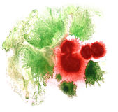 Art watercolor green, red ink paint blob Royalty Free Stock Photography