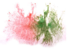 Art  watercolor ink paint blob red, green. Watercolour splash colorful stain isolated on white background texture Royalty Free Stock Photography