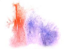 Art watercolor ink paint blob watercolour splash colorful red,. Blue stain isolated on white background texture royalty free stock photography