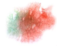 Art watercolor ink paint blob watercolour splash colorful stain. Isolated green, red on white background texture royalty free stock images