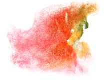 Art  watercolor ink paint blob watercolour splash. Colorful stain pink, green, red, yellow isolated on white background texture Royalty Free Stock Images