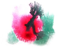 Art watercolor ink paint red, green, blue blob. Watercolour splash colorful stain isolated on white background texture royalty free stock photography