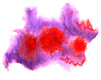 Art watercolor purple, red ink paint blob Royalty Free Stock Image