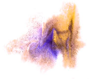 Art watercolor yellow, purple ink paint blob Royalty Free Stock Image