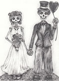 Art wedding skull day of the dead. Stock Photos