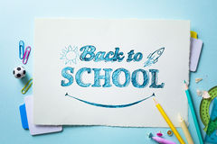 Art welcome Back To School Banner; School Supplies Tumblr Stock Photography