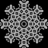 Art White Floral Seamless Symmetric Pattern On Black Background Stock Images