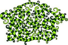 Art wih green striped liana stock illustration