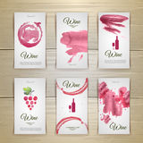Art wine cards and labels design Royalty Free Stock Images